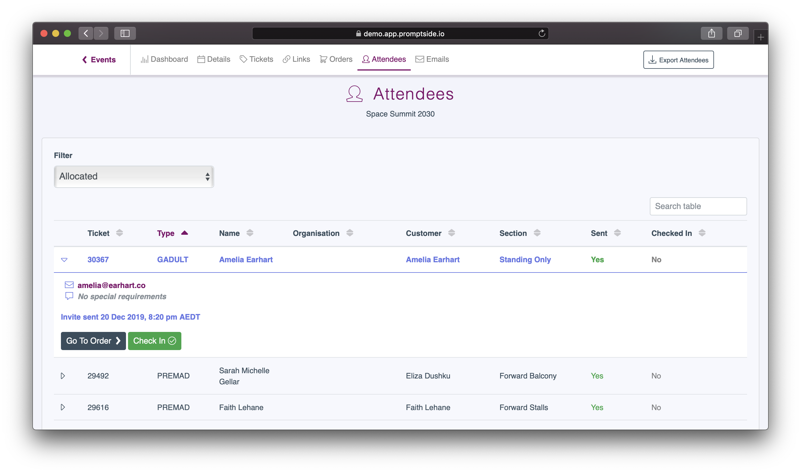 Screenshot of a list of attendees and their details