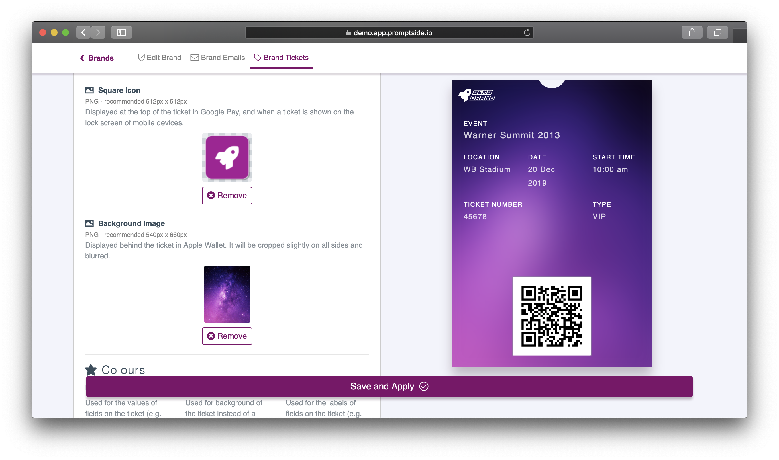 Screenshot of a form for setting brand colours and images on a branded ticket