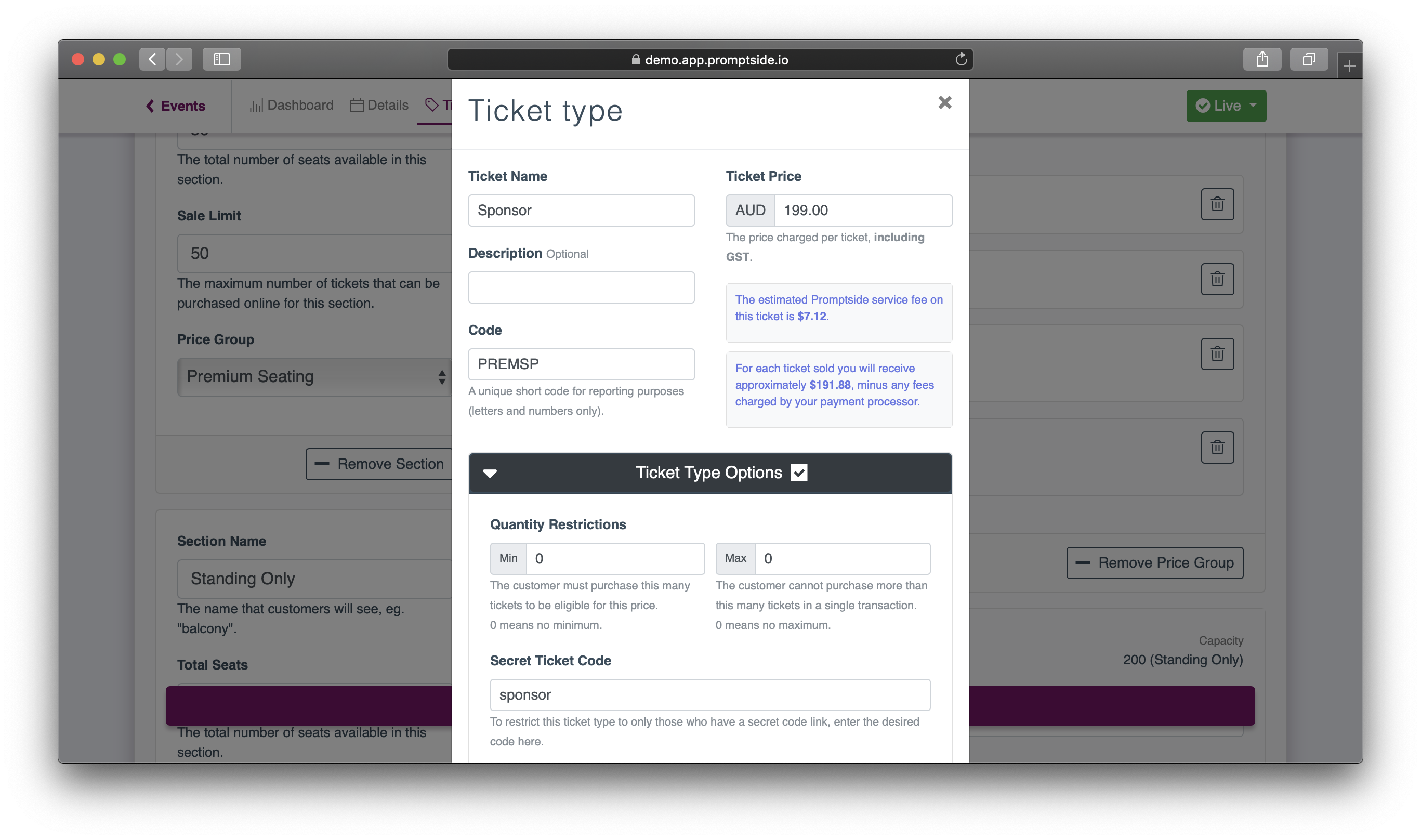 Screenshot of a form for editing the details of a ticket type